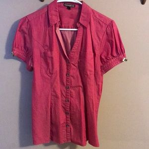 Express Women Button Down Pink with Pockets